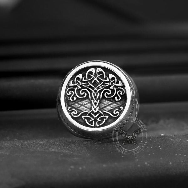 Tree of Life Knots Stainless Steel Viking Ring