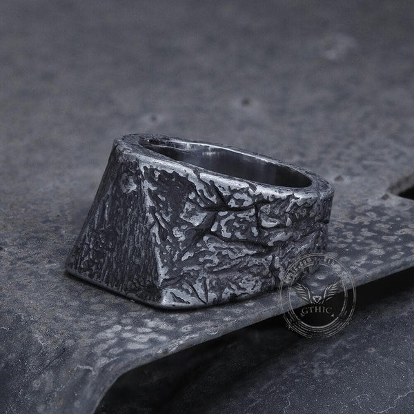 Triangle Crack Texture Stainless Steel Ring