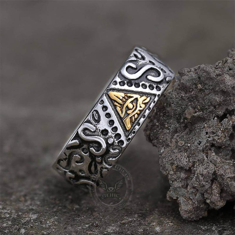 Triangle Eye of Providence Stainless Steel Masonic Ring