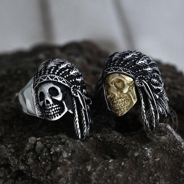 Tribe Warrior Stainless Steel Skull Ring