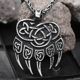 Triquetra Bear Claw Stainless Steel Viking Pendant