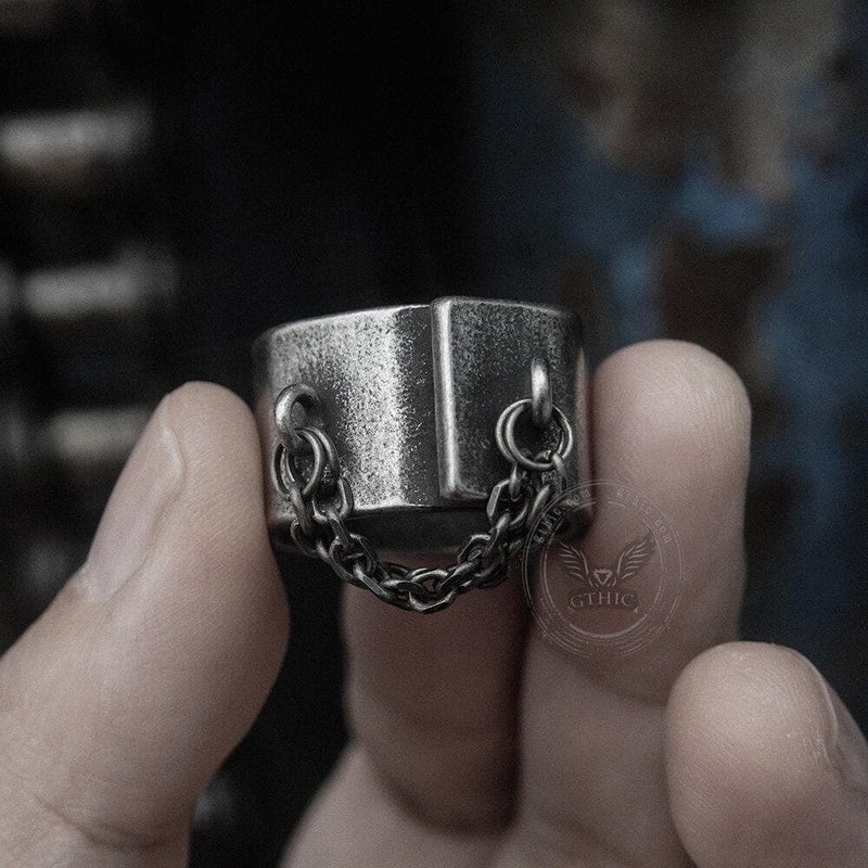 Unique Chain Stainless Steel Asymmetric Ring