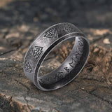 Valknut and Runes Stainless Steel Viking Ring