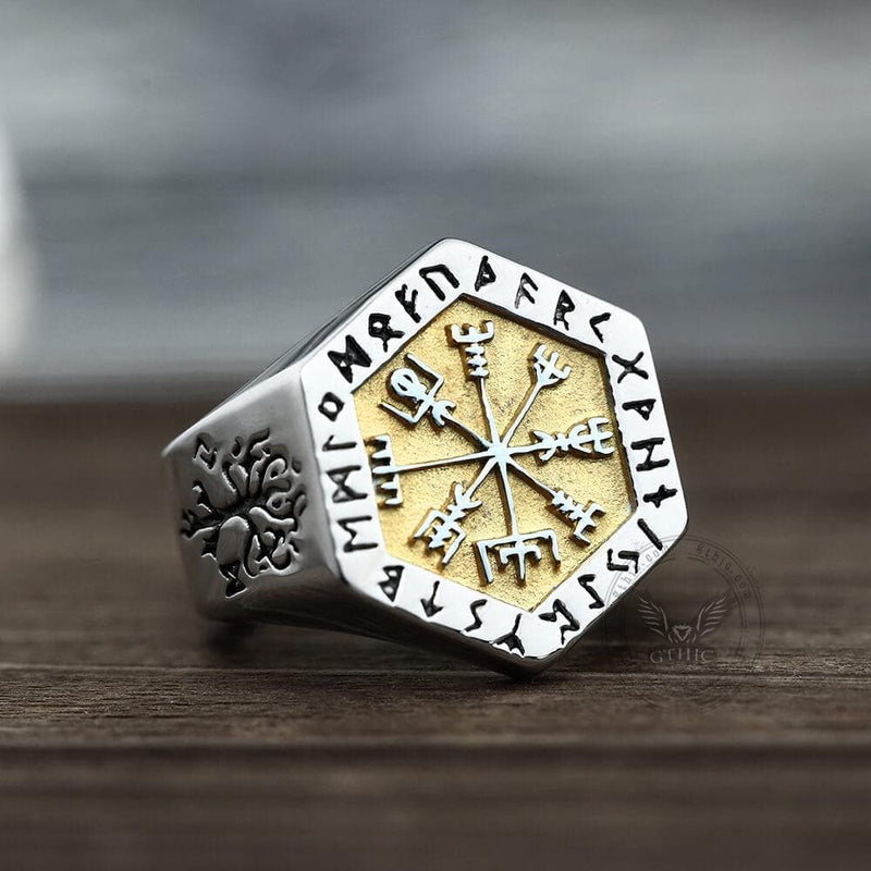 Valknut Compass Stainless Steel Viking Ring