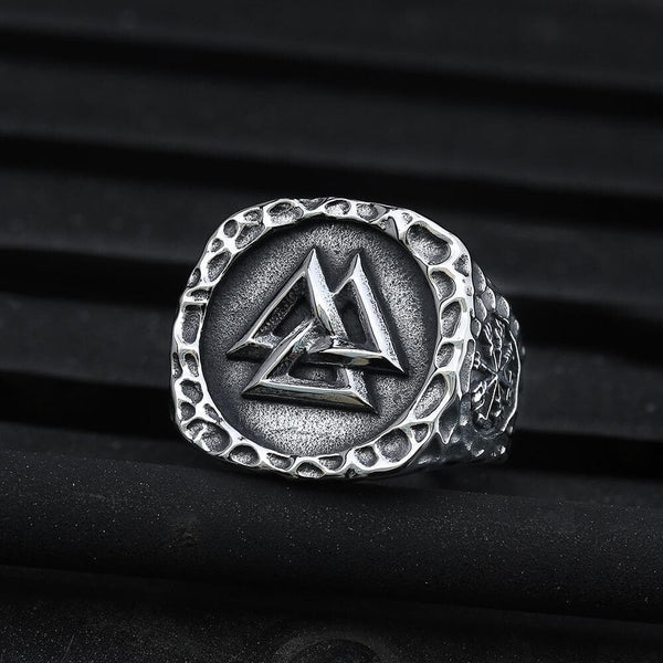 Valknut Runes Stainless Steel Viking Ring