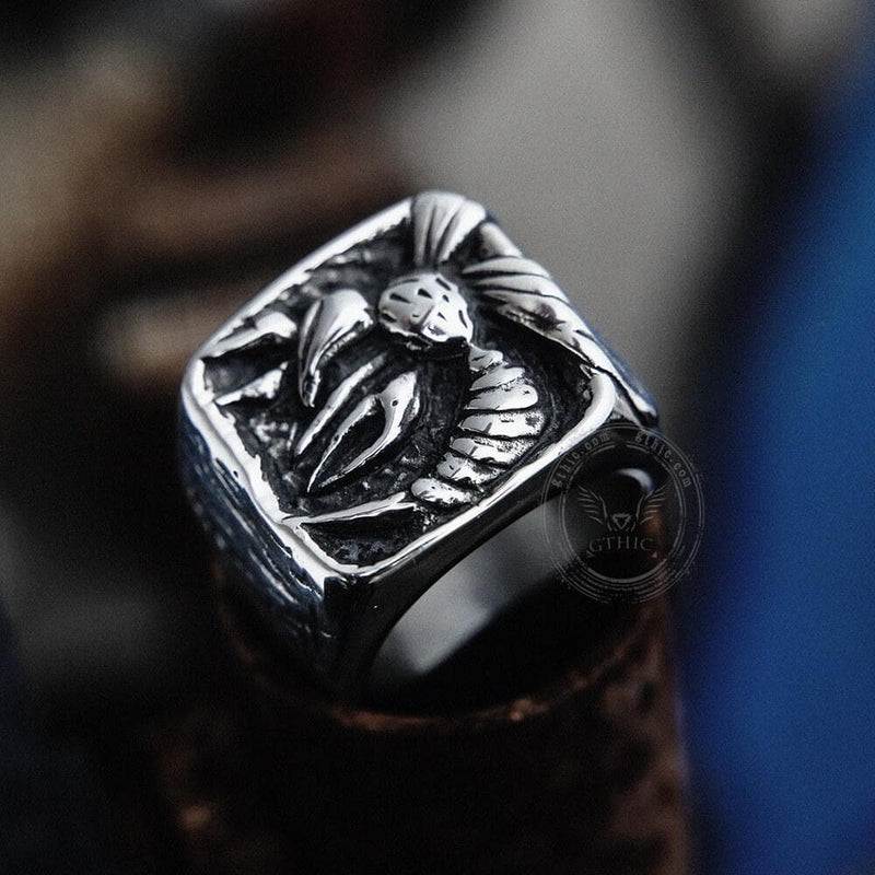 Venomous Wasp Stainless Steel Animal Ring