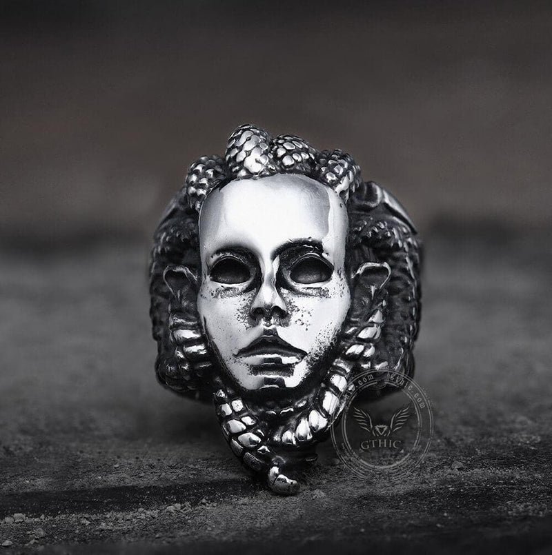 Venomous Medusa Stainless Steel Mythology Ring | Gthic.com