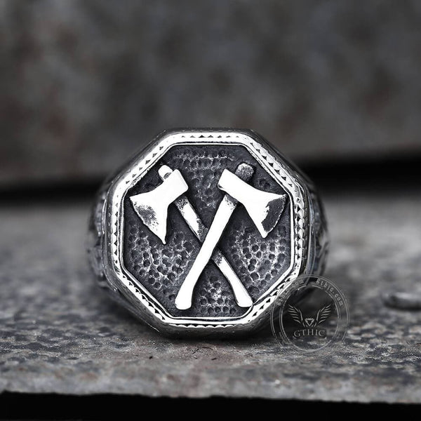 Viking Axe Stainless Steel Ring