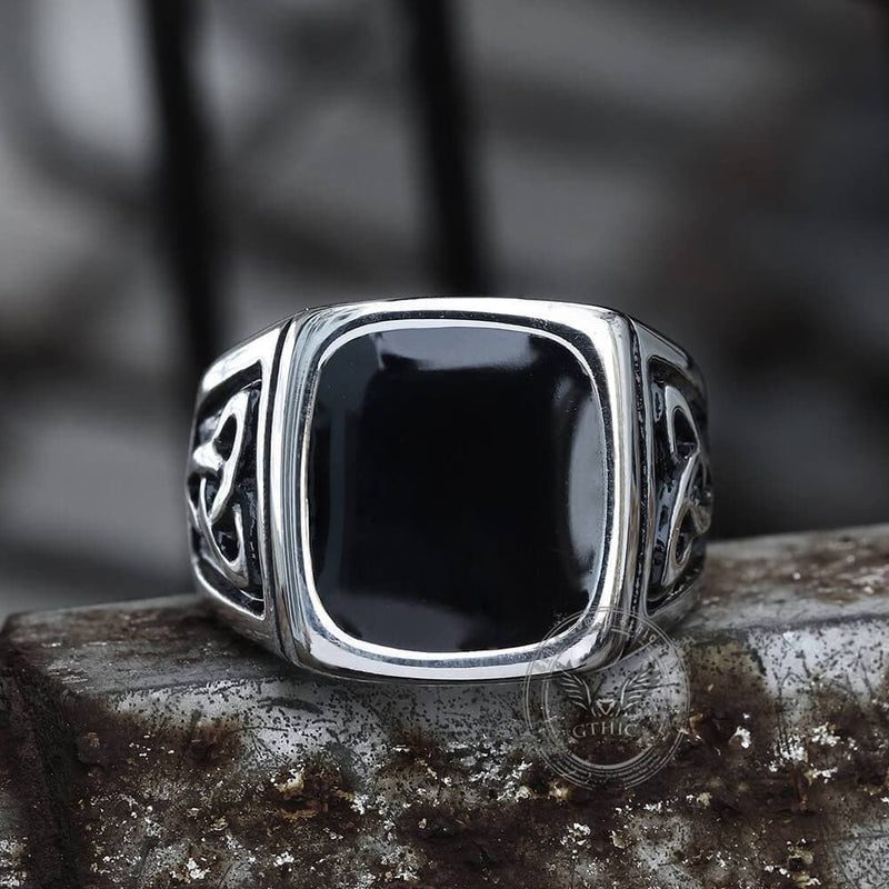 Viking Celtic Knots Stainless Steel Square Ring