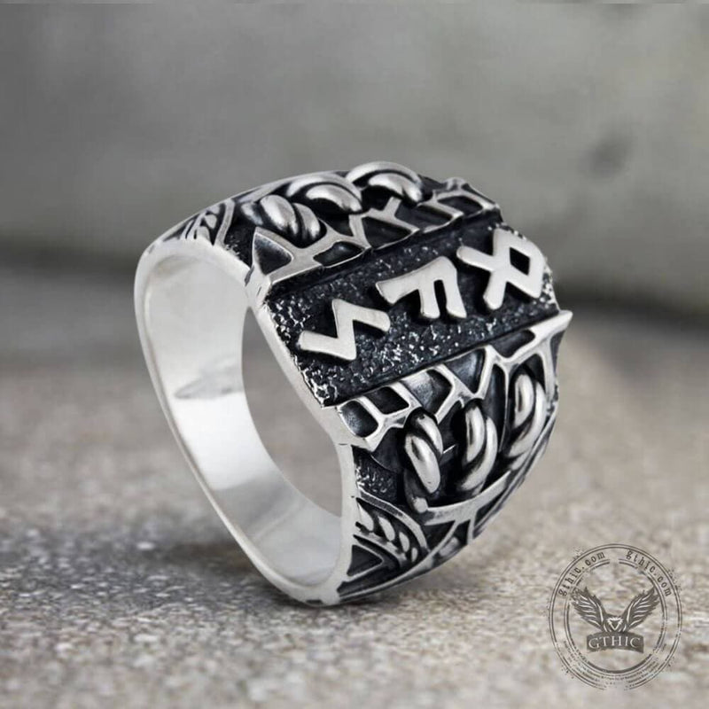 Viking Runes Amulet Stainless Steel Ring