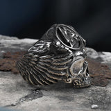 Viking Valknut Symbol Stainless Steel Crow Skull Ring
