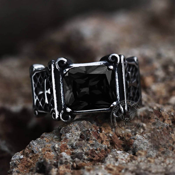 Vintage Cross Stainless Steel Gemstone Ring