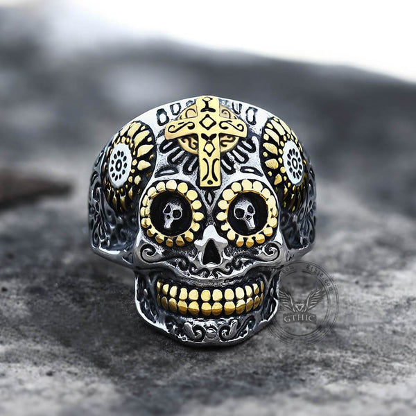Vintage Cross Stainless Steel Sugar Skull Ring