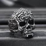 Vintage Flower Skull Stainless Steel Ring