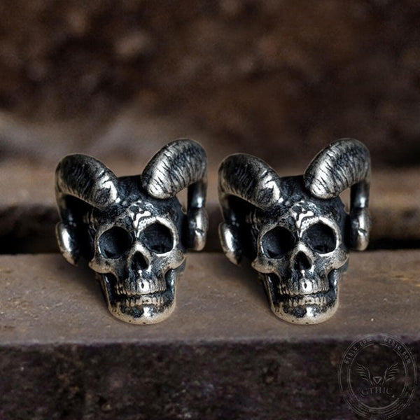 Vintage Goat Head Skull Sterling Silver Stud Earrings