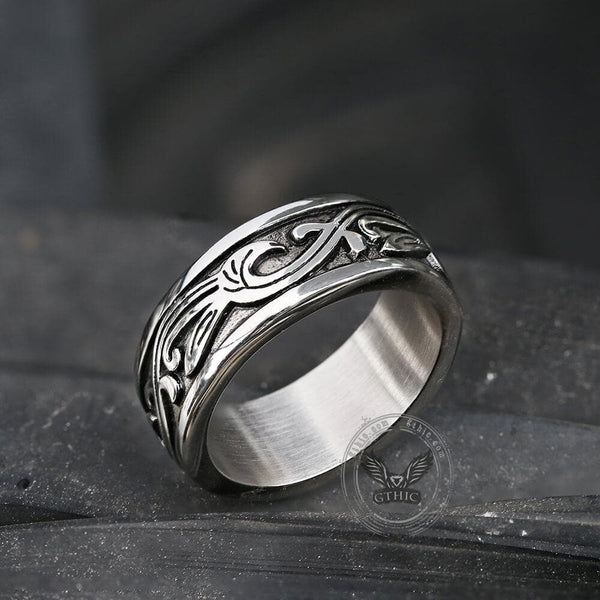 Vintage Grass Pattern Stainless Steel Ring