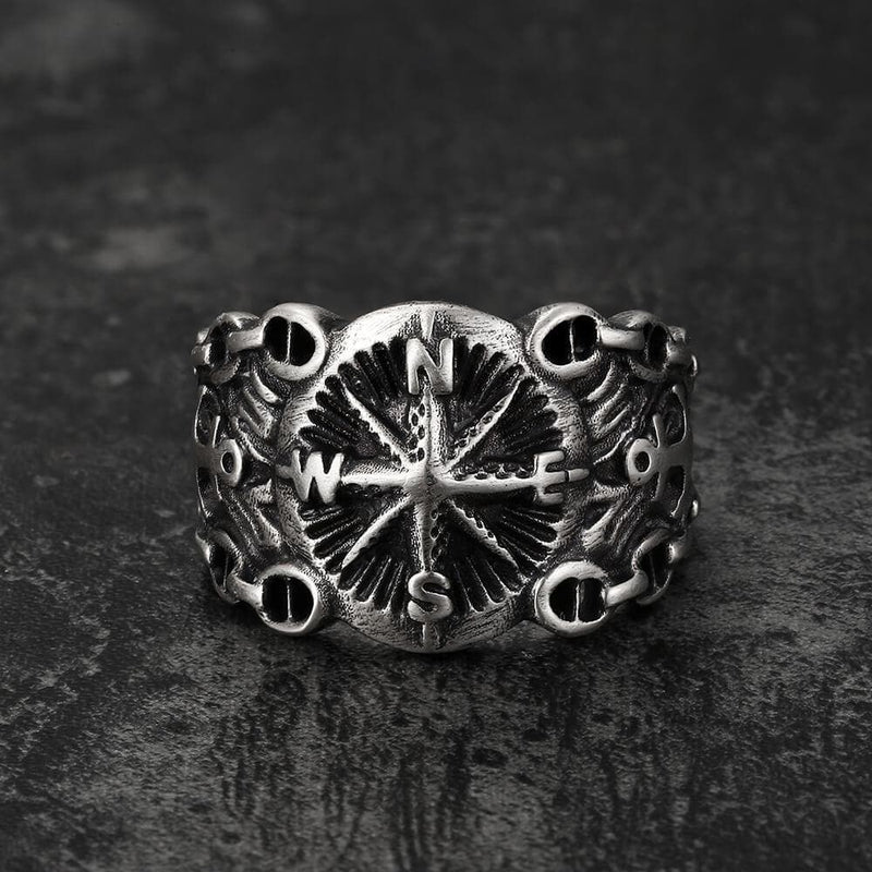Vintage Northern Pirate Compass Sterling Silver Marine Ring