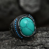 Vintage Pattern Turquoise Stainless Steel Ring