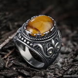 Vintage Pattern Turquoise Tiger-Eye Stainless Steel Ring