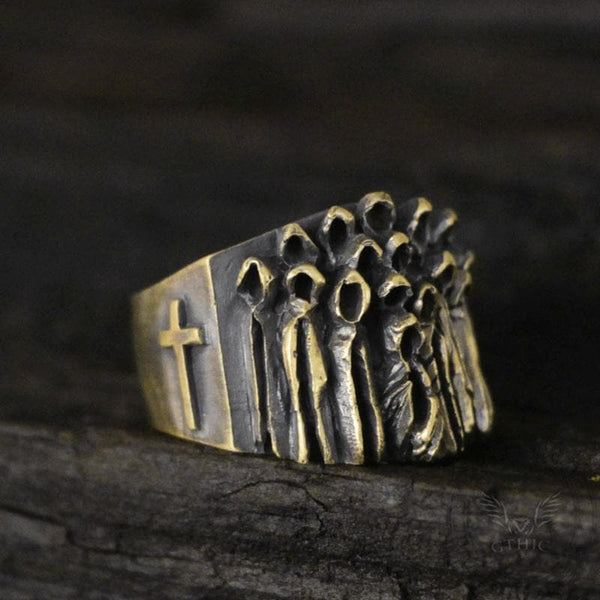 Vintage Ruin Cross Brass Sterling Silver Skull Ring