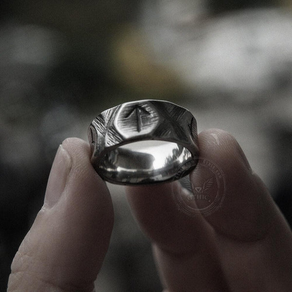 Vintage Runes Stainless Steel Viking Ring