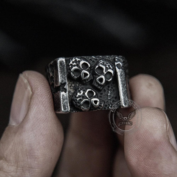 Vintage Three Skulls Stainless Steel Ring