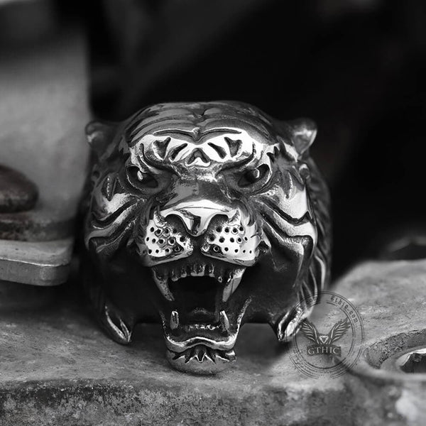 Vintage Tiger Stainless Steel Animal Ring