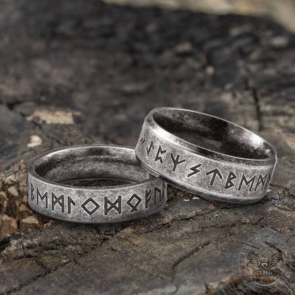 Vintage Viking Runes Stainless Steel Ring