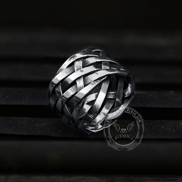Vintage Weave Pattern Stainless Steel Ring