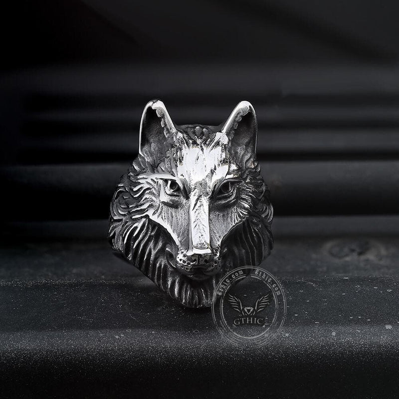 Wild Wolf 316L Stainless Steel Viking Ring | Gthic.com