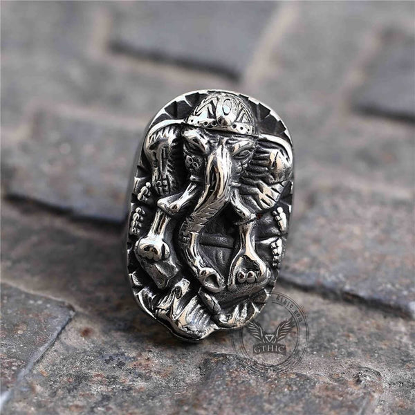 Wisdom Elephant Stainless Steel Beast Ring