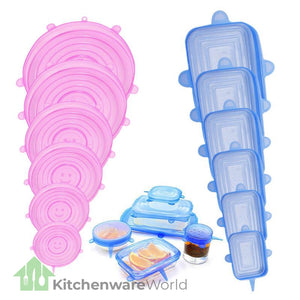 Air Tight Silicone Food Safety Lids (Set of 6)