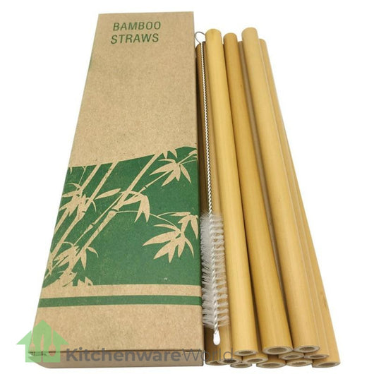 12pcs/set Bamboo Drinking Straws Reusable Eco-Friendly Party Kitchen Straws With Clean Brush