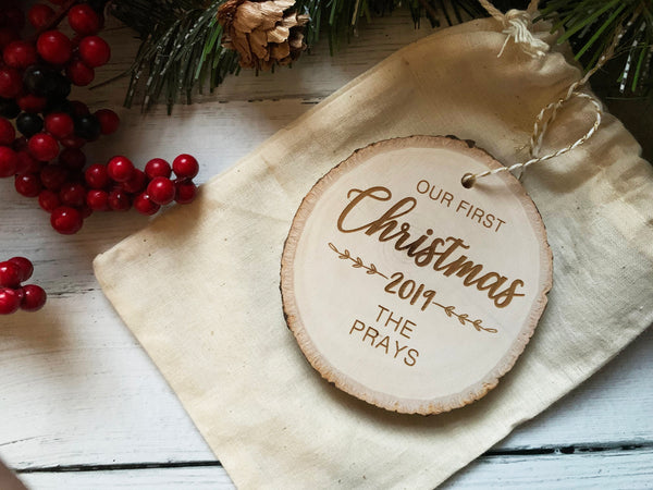 Our First Christmas Ornament  Personalized Ornament Wedding Gift