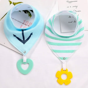 Bandana Bibs with Teething Toy (Nautical)