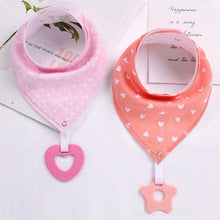 Load image into Gallery viewer, Bandana Bibs with Teething Toy (Polka)