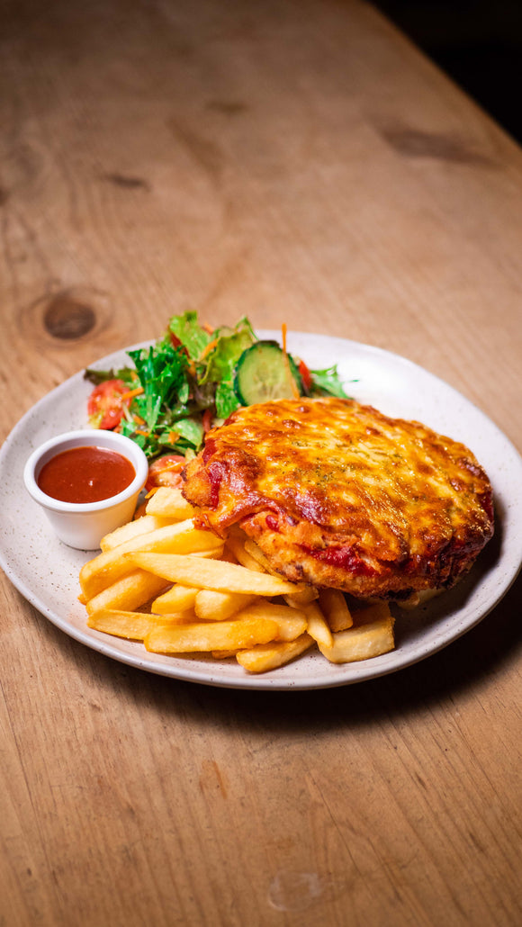 HOUSE CRUMBED FREE RANGE CHICKEN PARMA (GF)