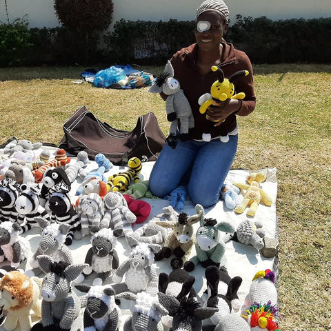 Catherine with stuffed toys