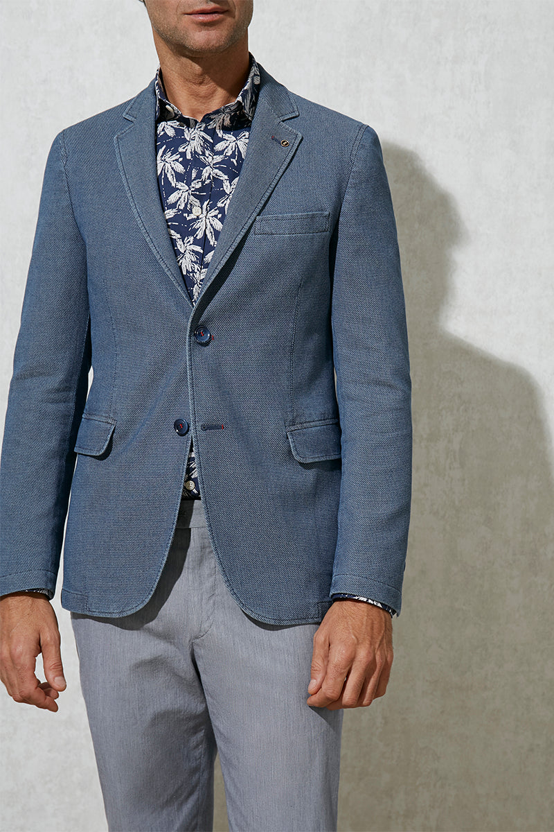 Florentino Cotton Blazer With Textured Weave, Slim Fit