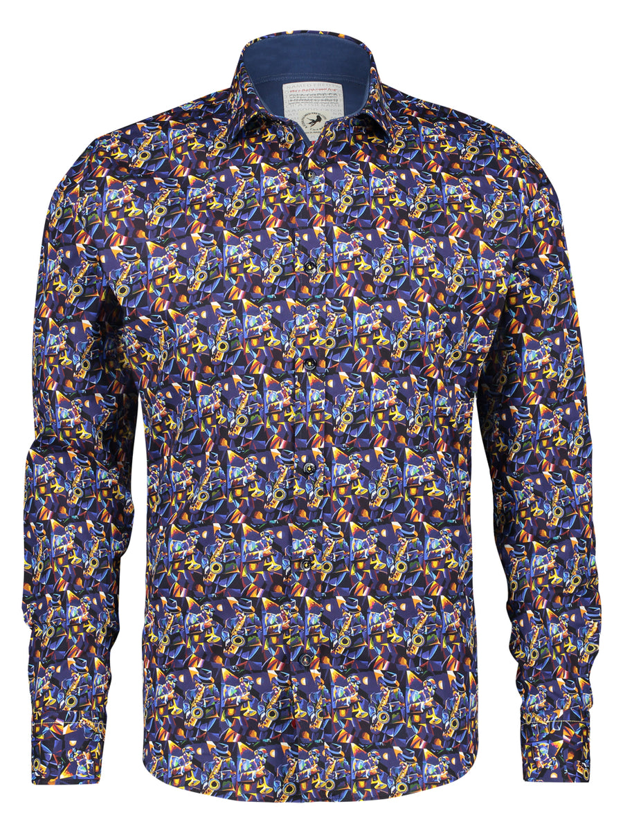A Fish Named Fred Sax Blue  LS Shirt - Alexanders on Tennyson