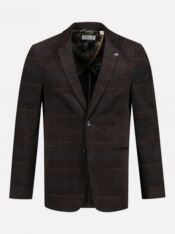 Dstrezzed Ribcord Check Dark Brown Blazer