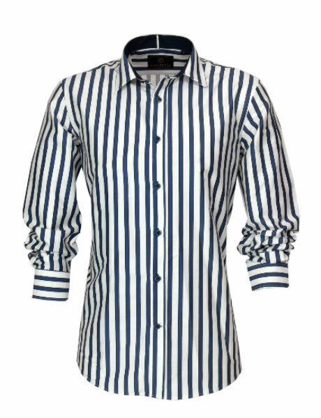 Cutler & Co Indigo Stripe Sateen Blake Shirt - Alexanders on Tennyson