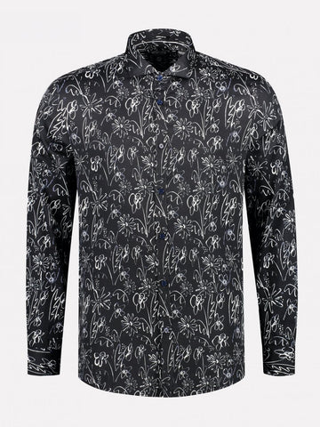 Dstrezzed Draw Flower Navy L/S Shirt