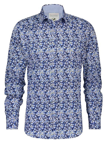 A Fish Named Fred L/S Shirt Ink Flowers Blue