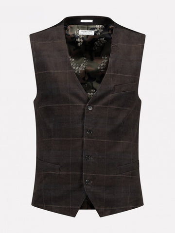 Dstrezzed Ribcord Dark Brown Check Gilet