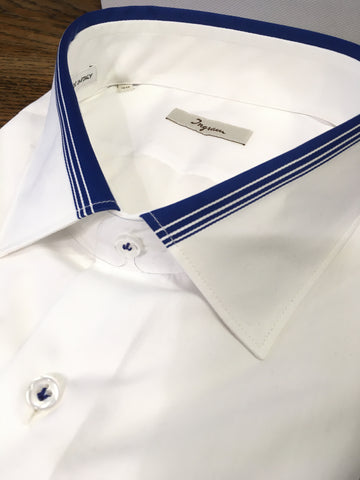 Ingram L/S Business Shirt White Navy Detail