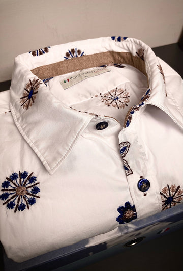 Poggianti L/S Shirt White Embroidery 203