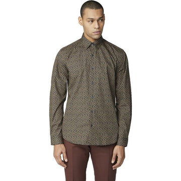 Ben Sherman Scattered Print Tan LS Shirt - Alexanders on Tennyson