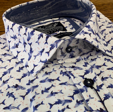 Thomson & Richards S/S Shirt Shark Blue/White