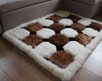 "Alpaca Fur Rug. New  Brown White Alpaca Rug. ""Octagon"" Design-Geometric - Alpaca Retail"